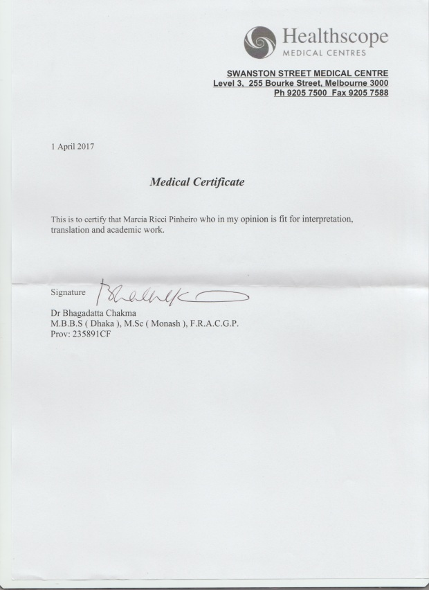 One More Medical Certificate  Dr Marcia Pinheiro